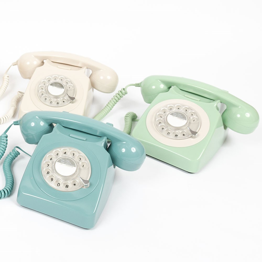 GPO 746 Retro Rotary Dial Phone in French Blue