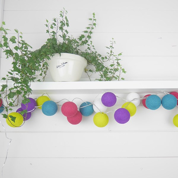 Cable and Cotton Rainbow Drops Cotton Ball Lights