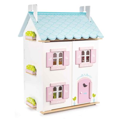 Le Toy Van Blue Bird Cottage Dolls House with Furniture