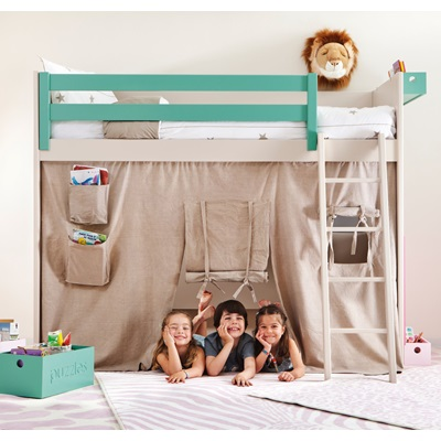 Unique Kids Liso Loft Bed With Tepee Cover - Asoral | Cuckooland EW36