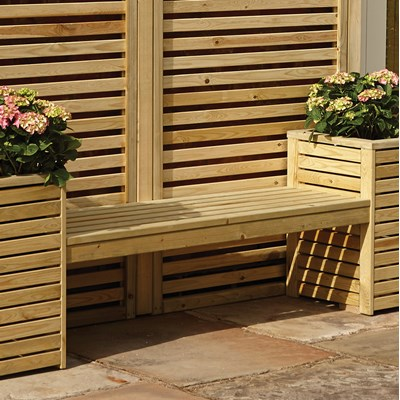 Natural Timber Bench And Planter Set