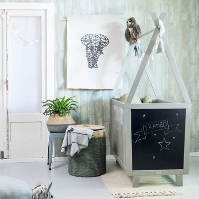 FRAMED TEEPEE BABY COT in Green Grey