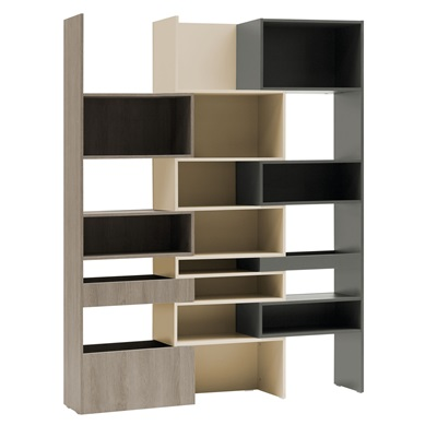 VOX LORI CONCERTINA BOOKCASE in Graphite, Cashmere & Oak Grey
