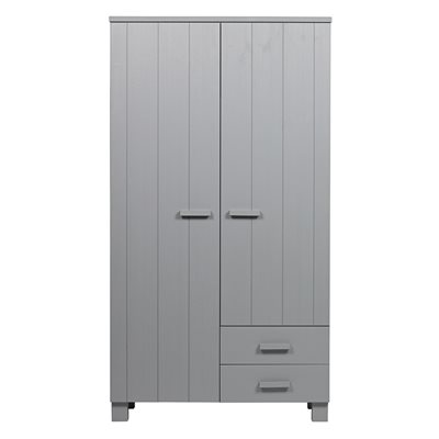 Dennis Wardrobe with Drawers in Concrete Grey by Woood