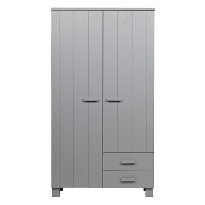 Dennis Kids Wardrobe with Drawers in Concrete Grey by Woood