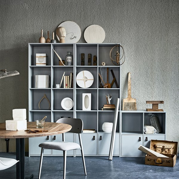 Pine Bookcase in Concrete Grey by Woood