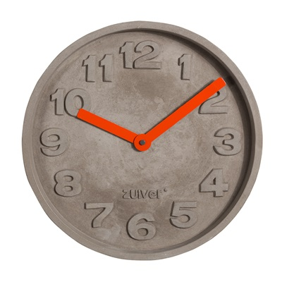 CONCRETE TIME CLOCK with Orange Hands