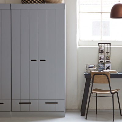 CONNECT Contemporary 2 Door Wardrobe with Storage in Concrete Grey