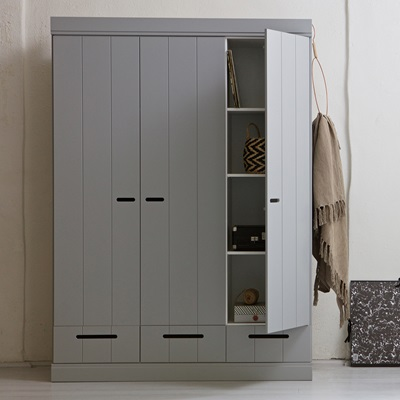 CONNECT Contemporary 3 Door Wardrobe with Storage in Concrete Grey