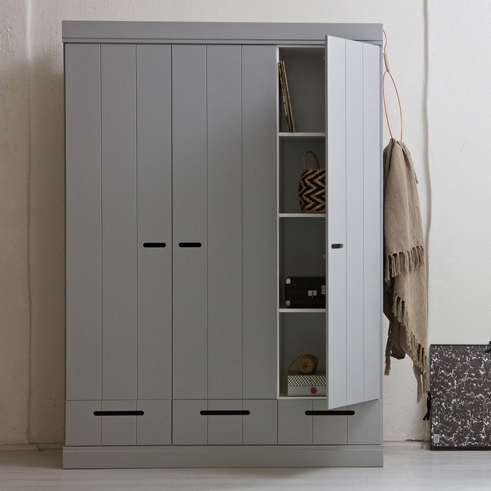 Grey Connect Contemporary 3 Door Wardrobe With Storage Cuckooland