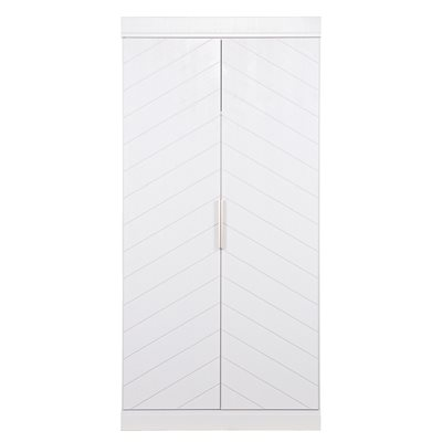 CONNECT 2 Door Wardrobe in White Herringbone Design