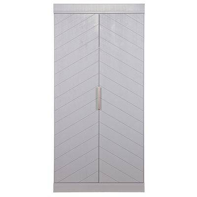 CONNECT 2 Door Wardrobe in Grey Herringbone Design