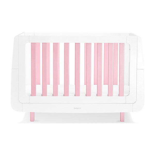 Pink and White Baby Cot in Beech Wood