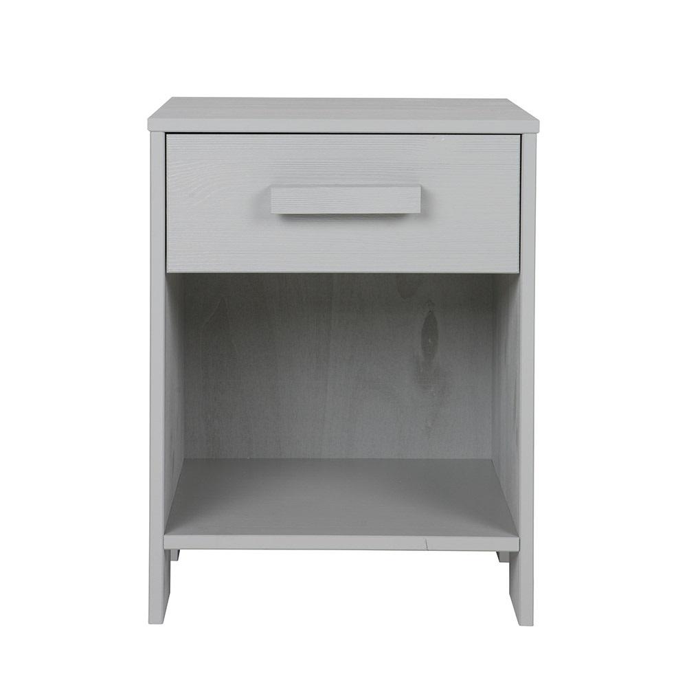dennis kids bedside table with drawer in concrete grey. Black Bedroom Furniture Sets. Home Design Ideas