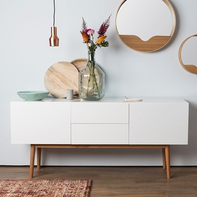 SCANDINAVIAN 2 DRAWER & 2 DOOR SIDEBOARD in White & Oak