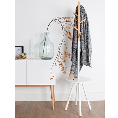 TABLE TREE SCANDINAVIAN COAT STAND in White & Natural