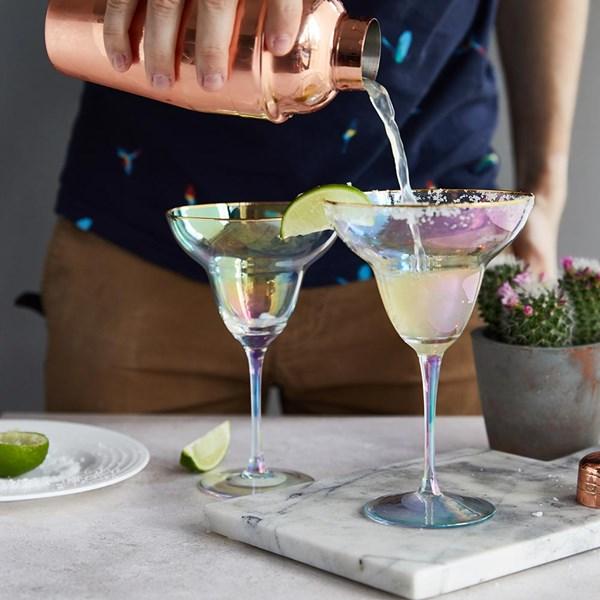 G&Tea Rainbow Margarita Glasses Set of 2