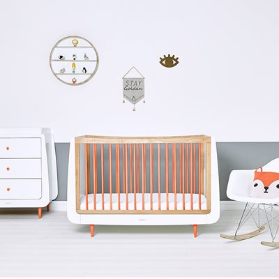 SnuzKot Skandi Cot Bed in Orange