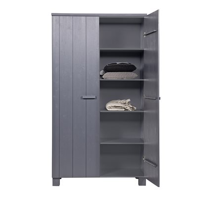 DENNIS KIDS CONTEMPORARY PINE WARDROBE in Steel Grey