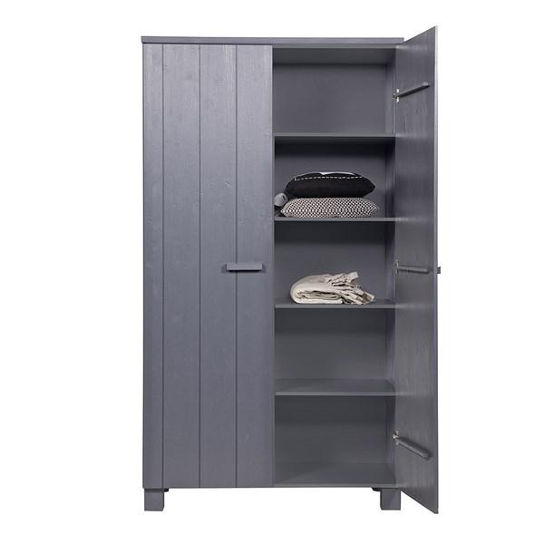 Dennis Kids Contemporary Pine Wardrobe in Steel Grey