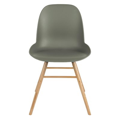 A PAIR OF ALBERT KUIP RETRO MOULDED DINING CHAIRS in Olive Green
