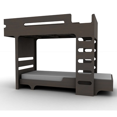 F & A DESIGNER KIDS BUNK BED in Dark Chocolate