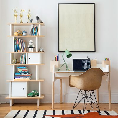 Oeuf Brooklyn Height Adjustable Desk in White & Birch