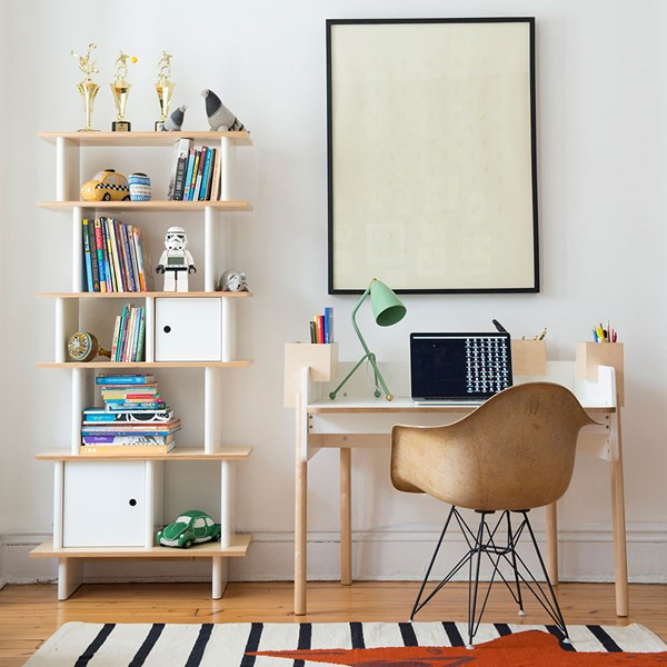 Oeuf Brooklyn Desk in White and Birch