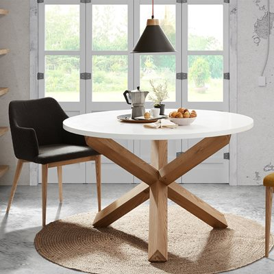 NORI ROUND DINING TABLE in White and Oak
