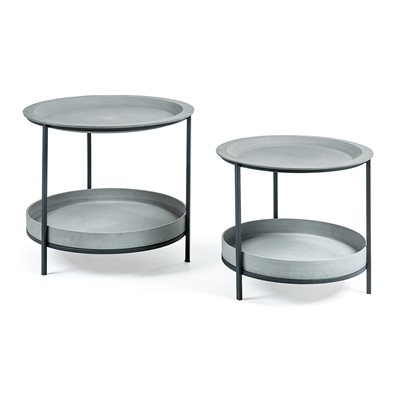 Sleet Set of 2 Side Tables in Cement Grey