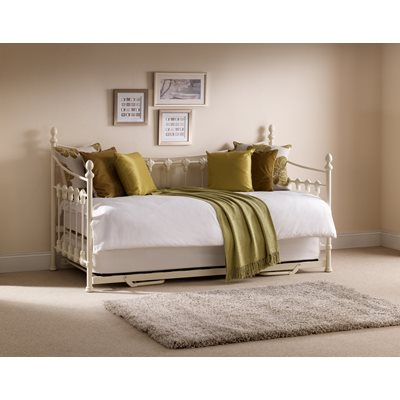 VERSAILLES METAL FRAME DAY BED with Pull Out Trundle