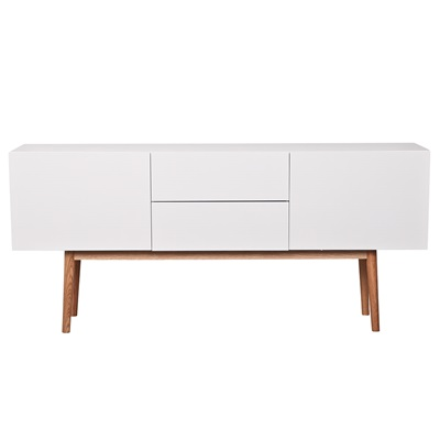 ZUIVER SCANDINAVIAN 2 DRAWER & 2 DOOR SIDEBOARD in White & Oak