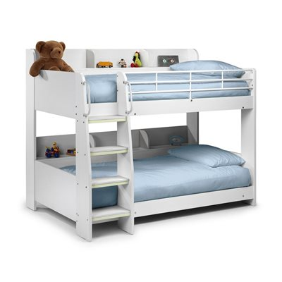 DOMINO KIDS BUNK BED WITH SHELF in White Finish by Julian Bowen