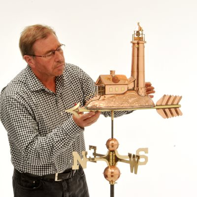 STRUMBLE LIGHTHOUSE COPPER 3D WEATHERVANE