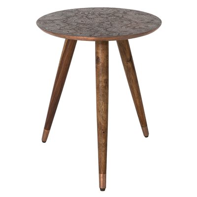 BAST SIDE TABLE in Embossed Copper Finish
