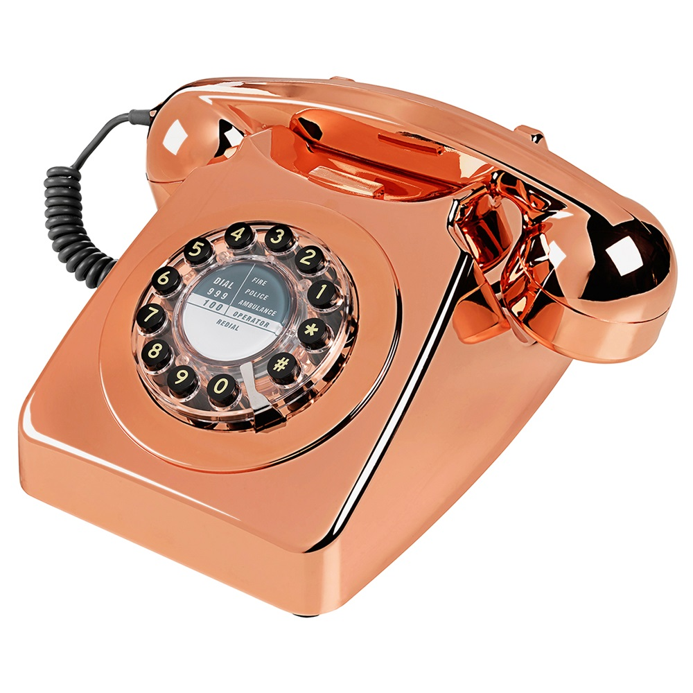 retro telephone 746 in brushed copper retro phones cuckooland. Black Bedroom Furniture Sets. Home Design Ideas