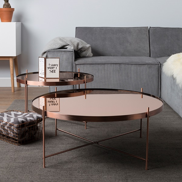 Zuiver cupid living room coffee table in metallic copper finish zuiver cuckooland for Table zuiver