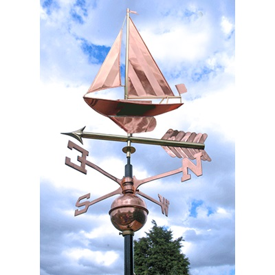 POLISHED COPPER SAIL BOAT 3D WEATHERVANE