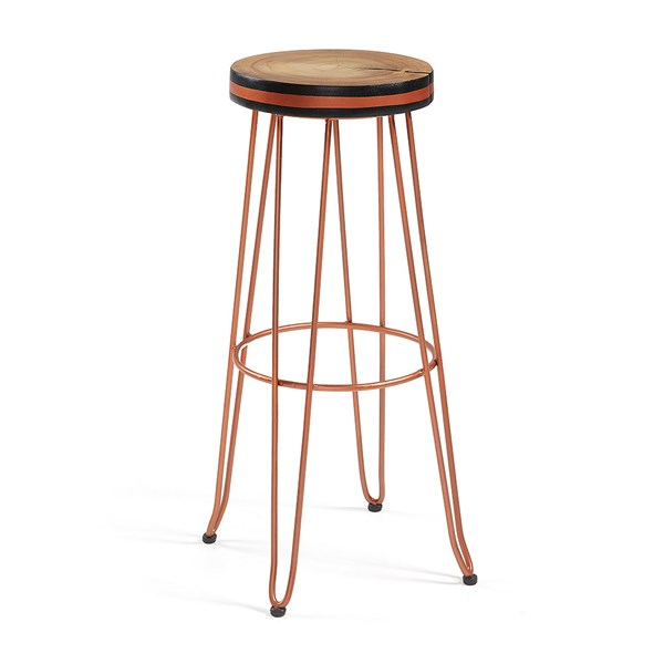 Farley Round Teak Bar Stool in Copper