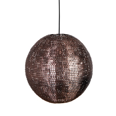 COOPER ROUND PENDANT LAMP in Sparkling Copper Finish