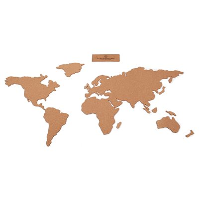 CORK WORLD MAP PINBOARD Self Adhesive