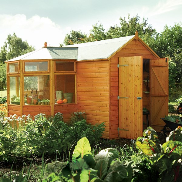 Corner Garden Greenhouse & Potting Shed in Honey Brown