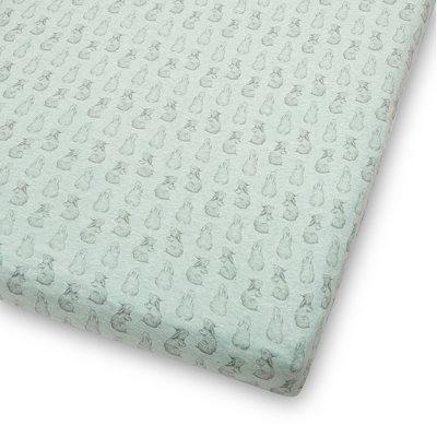 WILD COTTON ORGANIC FITTED COT SHEET in Rabbit Design