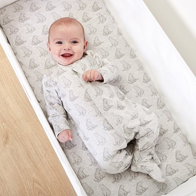 WILD COTTON ORGANIC BABY SLEEPSUIT in Bear Design