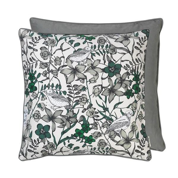 Floral Bird Print Cotton Cushion in Dove