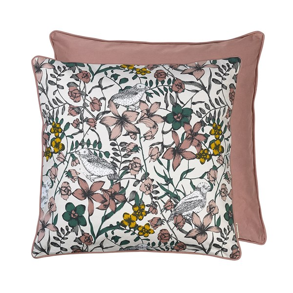 Floral Bird Print Cotton Cushion in Rouge