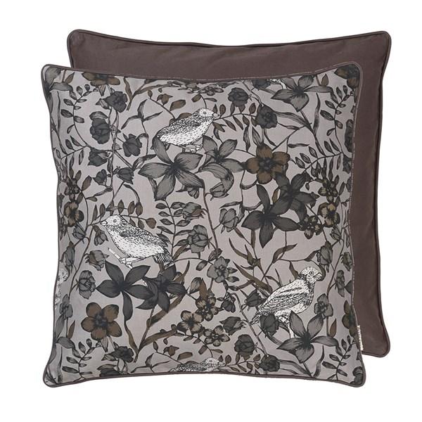 Floral Bird Print Cotton Cushion in Steel