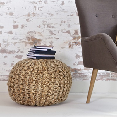 COUNTRY KNITTED STOOL & TABLE in Hemp