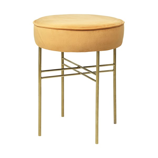 Club Upholstered Velvet Stool in Dijon