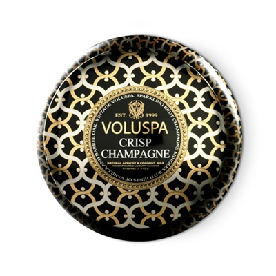VOLUSPA CANDLE in 2 Wick Crisp Champagne (Maison Noir-11oz Decorative Tin)